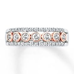 Jared - Diamond Anniversary Ring ct tw Bezel-set Two-Tone Gold Anniversary Bands For Her, Diamond Anniversary Bands, Argyle Pink Diamonds, Colored Diamonds, Diamond Stone, Fashion Rings, Jewelry Stores, White Gold, Wedding Rings