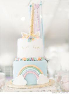 Unicorn bachelorette party by Black Olive Weddings & Events. It features some lovilee unicorn party decor and a unicorn cake.