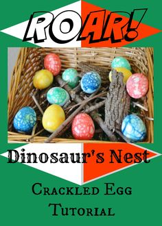 Look at these colorful dinosaur eggs! You can use these crackled egg nests for Easter, or even color theme them for Dr. Seuss or spring colors! Super easy! If you can hard boil an egg you can make these little appetizers!