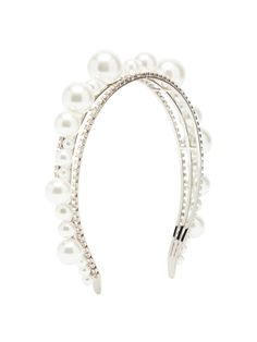 Givenchy Givency Ariana Imitation Pearl & Crystal Headband In 040 Silver Silver Headband, Crystal Headband, Pearl Headband, Vintage Headbands, Cute Headbands, Ariana Merch, Slick Hairstyles, Fashion Rings, Women's Accessories