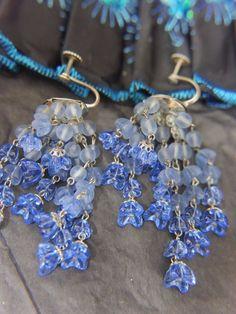 "Vtg Made In Germany Blue 2 1/2"" Glass Dangling Screw Back Earrings, wire setting   Украшения и часы, Винтажные и антикварные украшения, Бижутерия   eBay!"
