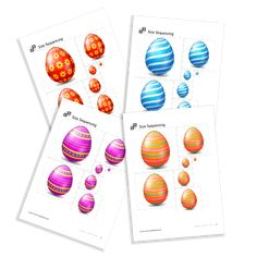 Size Sequencing of the serie Easter. Easter, Printables, Print Templates