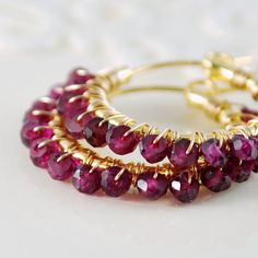 Genuine Rhodolite Garnet Earrings Raspberry by livjewellery, $85.00