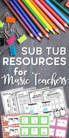 Looking for new things to add to your sub tub so you don't have to panic when you will be away from school? Check out these great resources that are friendly to subs with no music experience. Whether you are looking for everything you need to put a sub tub together or are just wanting a few things to add to your existing sub tub to keep it fresh, there are plenty of great resources here! #elementarymusic #kodalyinspiredclassroom #musiceducation
