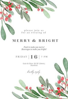 Customize, add text and photos. Print for free! Free Christmas Invitation Templates, Christmas Card Template, Christmas Party Invitations, Free Christmas Printables, Poinsettia, Holiday Wreaths, Christmas Ideas, Christmas Posters, Christmas Flyer