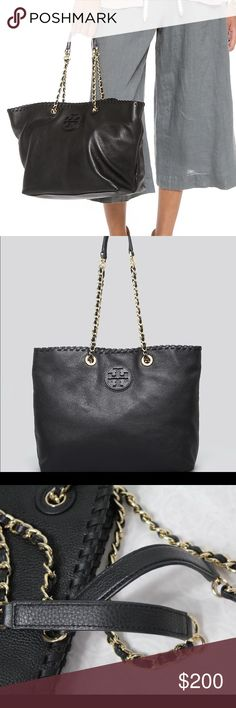 """Mint! New Tory burch Marion chain tote Authentic used once like new Double shoulder straps Snap closure; lined Interior zip pocket, 2 interior slip pockets Leather logo on front 19""""W x 6""""D x 11.5""""H; 9.5"""" strap drop Soft Leather Bags Totes"""