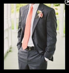 Coral tie and gray suit. Mmm