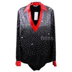 US $189.00 / piece High-Grade Custom Middle East Drilling Men Dance Shirt Latin Dance Wear Ballroom Dancing Top Dance Clothing Man Dancewear Tops