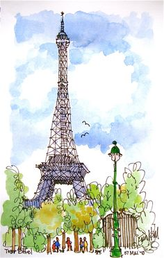 When you want to visit European countries you cannot miss the Eiffel Tower. This stands for attracting tourists from all the parts of the world. It is also a major symbol of France. Watercolor Sketch, Watercolor Illustration, Watercolor Paintings, Paris Kunst, Paris Art, Paris Illustration, Watercolor Architecture, Urban Sketching, Art Drawings Sketches