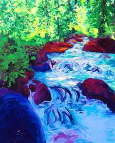"Over and Around, 60x48, AOC  This excerpt from Oswald Chambers perfectly expresses why I am so drawn to paint rivers crashing over the bounds of rocks in their paths.  ""A river is victoriously persistent, it overcomes all barriers...it comes to an obstacle and for a while it is balked, but it soon makes a pathway round...God will either take you round the obstacle or remove it. The river of the Spirit of God overcomes all obstacles...nothing must keep you from the one great sovereign Source."