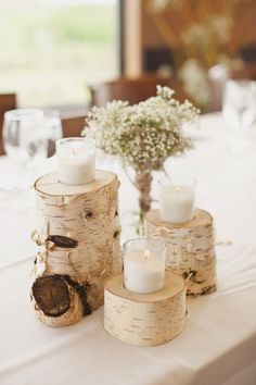 Birch wedding decor - A Dreamy White Wedding in Calgary, Alberta – Birch wedding decor Birch Centerpieces, Wedding Table Centerpieces, Wedding Flower Arrangements, Flower Centerpieces, Centerpiece Ideas, Wedding Flowers, Diy Wedding, Wedding Favors, Rustic Wedding