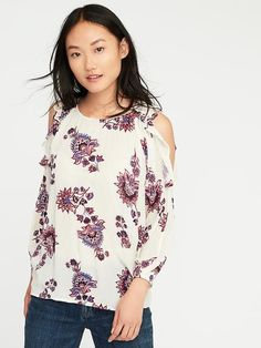 Ruffled Cold-Shoulder Blouse for Women