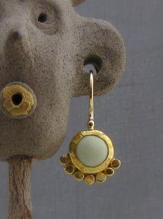 24k Gold Earrings  Lemon Jade Earrings Bridal Earrings  by Omiya
