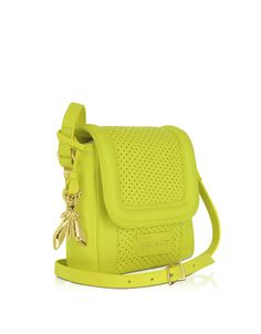 Patrizia Pepe Perforated Yellow Leather Shoulder Bag | FORZIERI