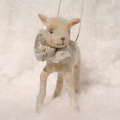 Spun cotton batting baby lamb ornament a Christmas OOAK vintage craft by jejemae,