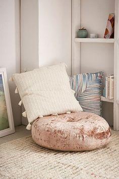 Amya Velvet Pillow Pouf