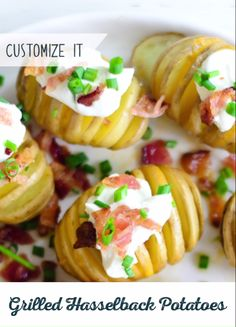 Fun to make and fun to eat! Make Mini Grilled Hasselback Potatoes the showstopping dish at your next summer BBQ or picnic. Top them with melted cheese and all your favorite toppings and enjoy. Plus they're gluten free! Mini Grill, Hasselback Potatoes, Feel Good Food, Bacon Bits, Summer Bbq, Melted Cheese, Keto Snacks, Serving Dishes, Potato Recipes