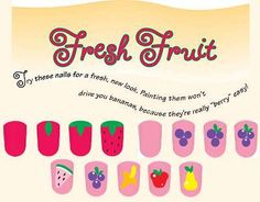 Fresh Fruit Nail Art for Kids - The fresh fruit nail art design is always in season. Learn how to paint strawberries, grapes, and more with this great kids' nail art idea. Cute Nail Art, Easy Nail Art, Cute Nails, Nail Polish Designs, Cute Nail Designs, Fruit Nail Art, Nail Art For Kids, Girls Nails, Kid Nails