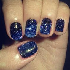 "Galaxy Nails!      --Milky Way--    How to: First, gradate your nails from blackened blue to sapphire, then splatter on various sizes of ""stars"" for a three-dimensional effect.    They recommend: Essie Nail Polish in Bobbing for Baubles"
