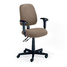 Mid-Back Ergonomic Office Chair, Adjustable, Durable, Comfortable, Light Brown Fabric.