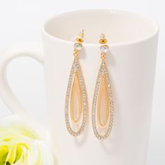 HEH00794 ISHOW Gold Tear drop shaped Dangling & drop earring for girls and women marriage and wedding jewelry gift for her present for mummy by IShowNo002 on Etsy