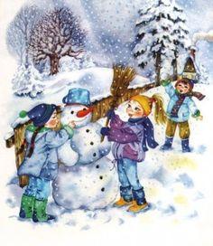 A venit iarna! | Jurnal de prichindei Preschool Christmas, Winter Christmas, Kids Christmas, Vintage Christmas, Winter Magic, Winter Art, Montessori Activities, Norman Rockwell, Cartoon Pics