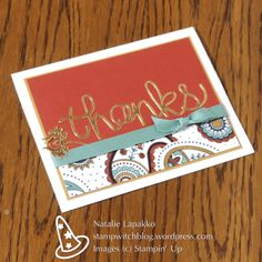 Thank you card by Natalie Lapakko featuring Paisleys and Posies stamps and Hello You thinlit dies from Stampin' Up!