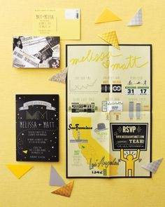 Check out the yellow and black poster-size invitations from this real wedding in Los Angeles!