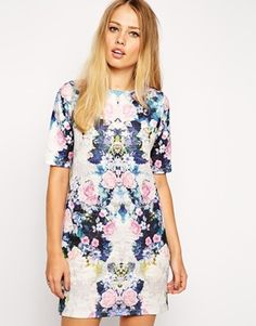 ASOS T-Shirt Dress in Textured Floral Mirror Print