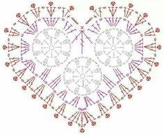 Crochet heart motif diagram
