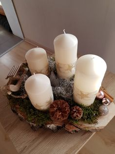 Pillar Candles, Advent, Table Decorations, Home Decor, Christmas Decorations, Decoration Home, Room Decor, Home Interior Design, Candles