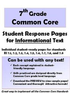 7th Grade ELA Common Core: Student Response Pages for Informational Text - Joy Sexton - TeachersPayTeachers.com