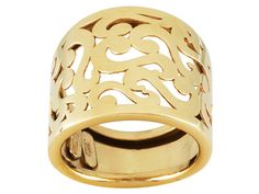 10k Yellow Gold Filigree Design Open Cut Band Ring With Tapered Shank