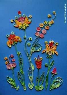 quilling by Anna Gnieciecka, abstract flowers.