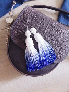 White and blue tassel earrings Beaded tassel earrings Sea