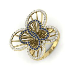 A cute shiny, dazzling ring in butterfly shape studded with real glossy diamonds is what you need at your party events and make them head turn around every time you pass by.