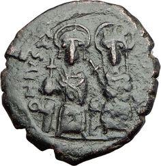 JUSTIN II & SOPHIA 565AD Constantinople Follis Ancient Byzantine Coin i64895