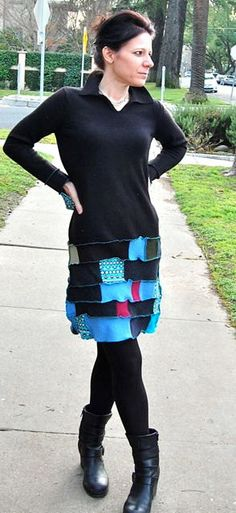 Patchwork Upcycled Cashmere and Wool Dress by LadyMadelineClothing, $75.00