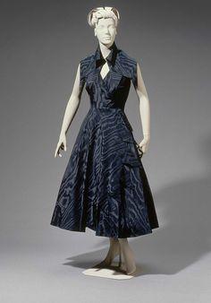 1949, France - Woman's two-piece cocktail dress by Cristóbal Balenciaga - Silk taffeta; moiré