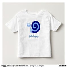 Happy, Smiling, Cute Blue Snail Character + Name Toddler Fashion, Toddler Outfits, Cute Toddlers, Character Names, Snail, Cute Babies, Happy, Mens Tops, Blue