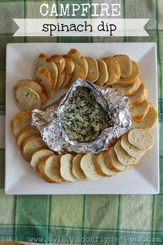 Camping recipes: Campfire Spinach Dip at Twin Dragonfly Designs. So clever!