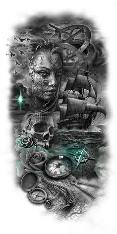 tattoo designs gallery - Tattoos And Body Art Tattoos And Body Art Kunst Tattoos, Skull Tattoos, Body Art Tattoos, New Tattoos, Tattoos For Guys, Cover Tattoos, Tatoos, Face Tattoos, Ship Tattoo Sleeves