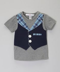 Another great find on #zulily! Heather Gray & Navy Vest Tee - Infant, Toddler & Boys #zulilyfinds