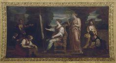 Michel Corneille, dit le Jeune (1642-1708) - Aspasie au milieu des philosophes de la Grèce, commandé par Louis XIV pour le Salon des Nobles (Grand appartement de la Reine) au château de Versailles - Musée National des châteaux de Versailles et de Trianon