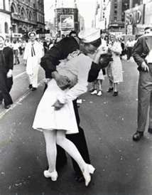 famous picture from 1945 Times Square NY - the nurse is Edith Shain - the sailor is unidentified.