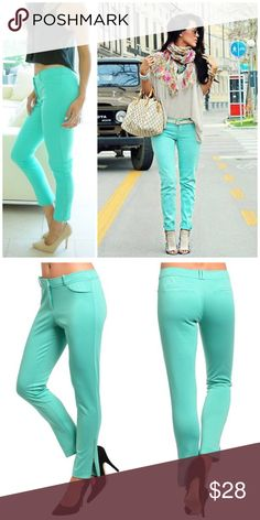 """⚡️Closing Sale ⚡️Mint Skinny Jeggings Trendy bright color Jeggings features a slim, stretch knit fabric with zipped cuffs accent. Made of poly/ rayon/ spandex blend.   Measurements taken unstretched Small waist 28""""/ length from waist 35"""" Medium waist 30""""/ length 35"""" Large waist 32""""/ length 35"""" Pants Leggings"""