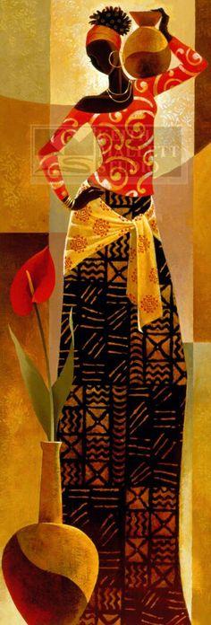 African Art by Keith Mallett . Afrique Art, African Paintings, Black Artwork, Afro Art, Black Women Art, African American Art, Stretched Canvas Prints, Love Art, Female Art