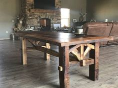 Pallet Table Plans Farmhouse Table Hand Made with Reclaimed Douglas Fir Barn Wood Farmhouse Table With Bench, Farmhouse Kitchen Tables, Rustic Table, Wood Table, Table Bench, Bench Vise, Coffe Table, Dinning Room Tables, Diy Dining Table