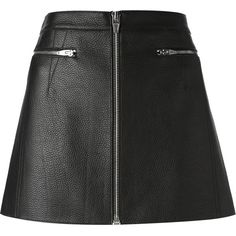 Alexander Wang lambskin mini skirt (14.800 UYU) ❤ liked on Polyvore featuring skirts, mini skirts, bottoms, saias, alexander wang, black, front zip skirt, short skirts, mini skirt and short a line skirt