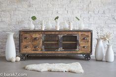 Meuble TV industriel 6 tiroirs finition antique - BARAK'7